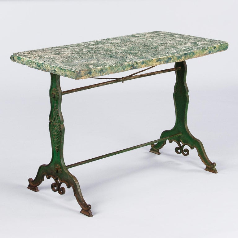 Late 1800s French Concrete Top Garden Table with Cast Iron Base For Sale 8