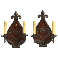 Late 1800s French Pair of Fleur-de-Lis Two-Arm Wrought Iron Wall Sconces