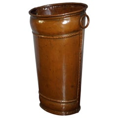 Late 1800s Handcrafted Copper Umbrella Stand Resembling Ancient Leather Bucket