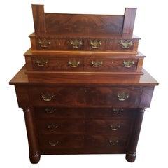 Late 1800s Mahogany Walnut Burl Bureau Chest of Drawers