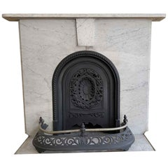 Late 1800s NYC Simple Victorian Arch Townhouse Mantel in Carrara Marble