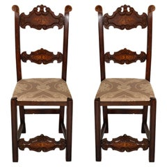 Late 1800s Pair of Chairs Venetian Gothic Style in Carved Walnut Inlaid Parts
