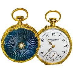 Late 1800s Patek Philippe Diamond Set Aquamarine Blue Engine Turned Guillouche