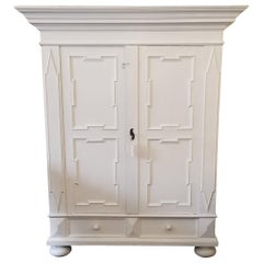 Late 1800s Restored Roomy White Armoire Cabinet
