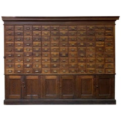 Late 1800s Wood Cabinet Apothecary Card Catalog with Drawers and Shelves