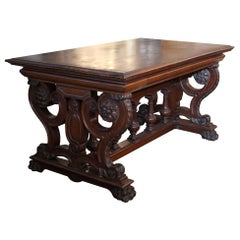 Late 1880s Dark Tone Ornate Hand Carved Wood Library Table by Rj Horner
