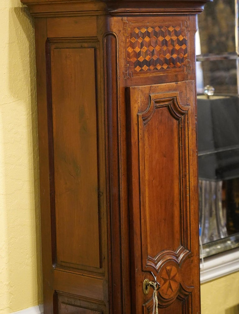 Late 18h Century French Provincial Walnut and Marquetry Tall Case Clock 5