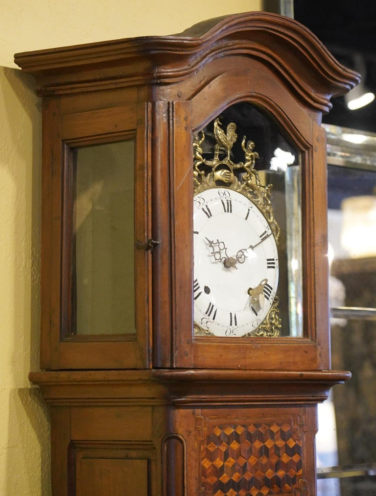 Late 18h Century French Provincial Walnut and Marquetry Tall Case Clock 6