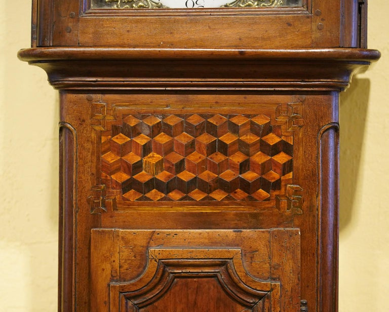 Late 18h Century French Provincial Walnut and Marquetry Tall Case Clock In Good Condition In Ft. Lauderdale, FL