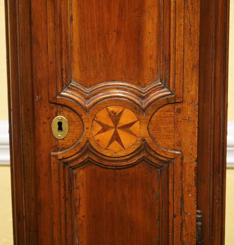 18th Century Late 18h Century French Provincial Walnut and Marquetry Tall Case Clock