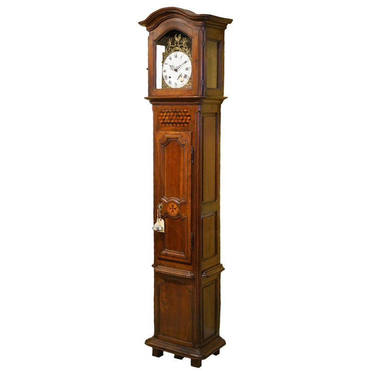 Late 18h Century French Provincial Walnut and Marquetry Tall Case Clock