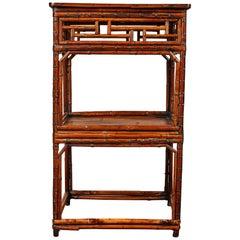 Late 18th Century Bamboo Tall Square Tea Table