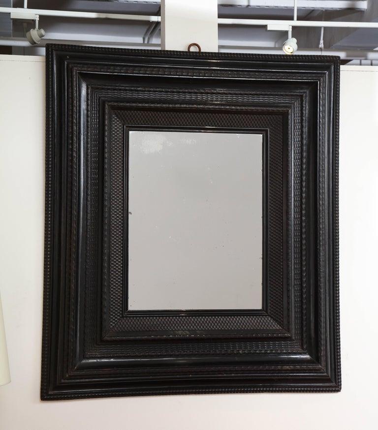 Renaissance Large 18th C. Italian Guilloche Ebonized Walnut Mirror For Sale