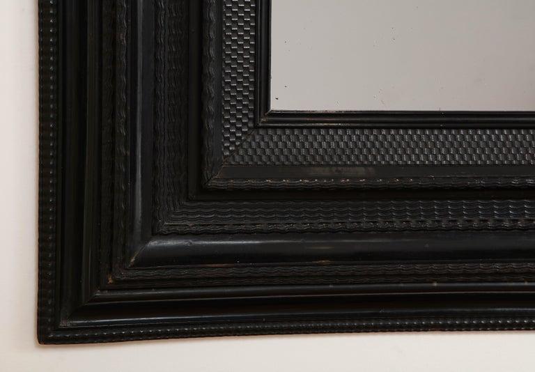 Large 18th C. Italian Guilloche Ebonized Walnut Mirror For Sale 2