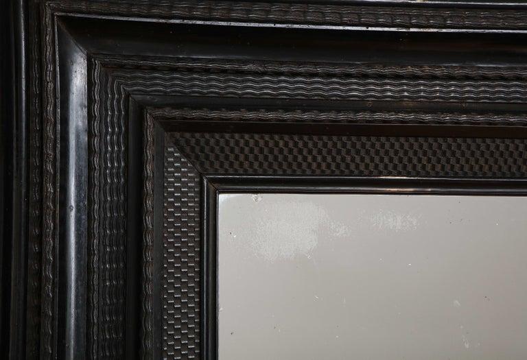 Large 18th C. Italian Guilloche Ebonized Walnut Mirror For Sale 3