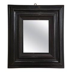 Large 18th C. Italian Guilloche Ebonized Walnut Mirror