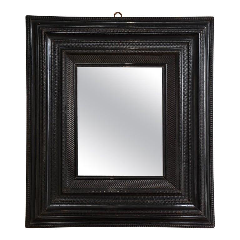 Large 18th C. Italian Guilloche Ebonized Walnut Mirror For Sale