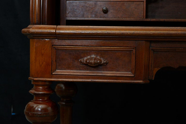 English Walnut Cylinder Desk with Pullout Writing Surface, circa 1870 For Sale 6