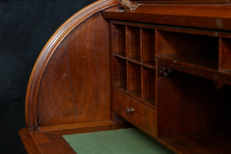 English Walnut Cylinder Desk with Pullout Writing Surface, circa 1870 For Sale 7