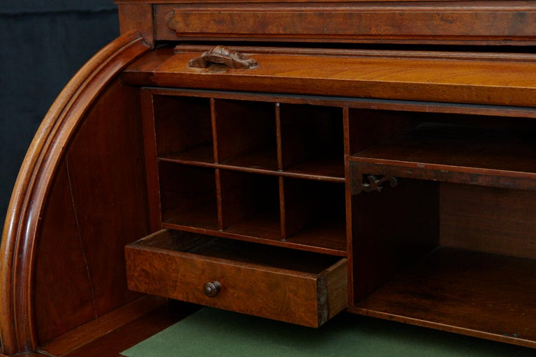 English Walnut Cylinder Desk with Pullout Writing Surface, circa 1870 For Sale 8