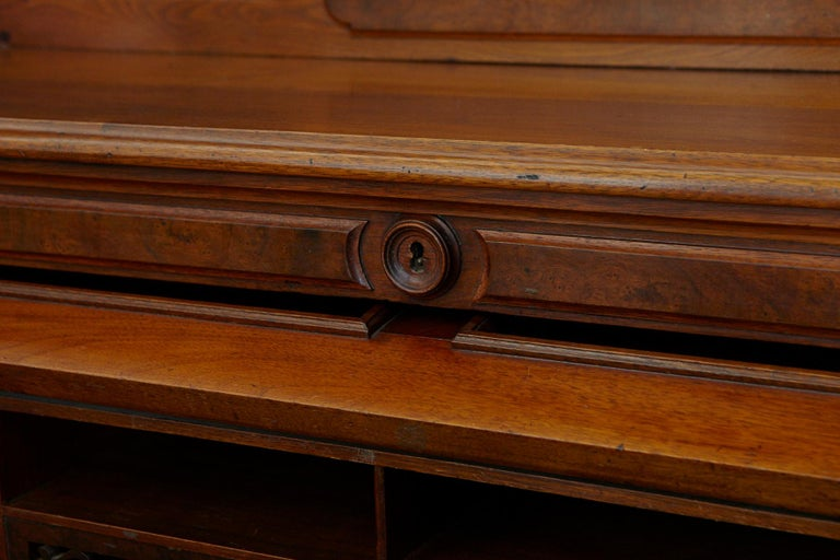 English Walnut Cylinder Desk with Pullout Writing Surface, circa 1870 For Sale 9