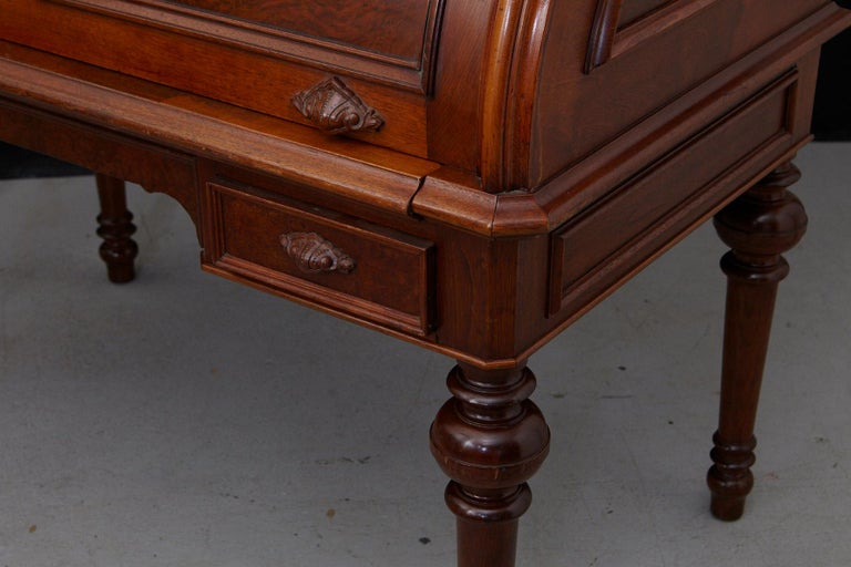 English Walnut Cylinder Desk with Pullout Writing Surface, circa 1870 For Sale 10