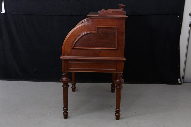 English Walnut Cylinder Desk with Pullout Writing Surface, circa 1870 For Sale 2