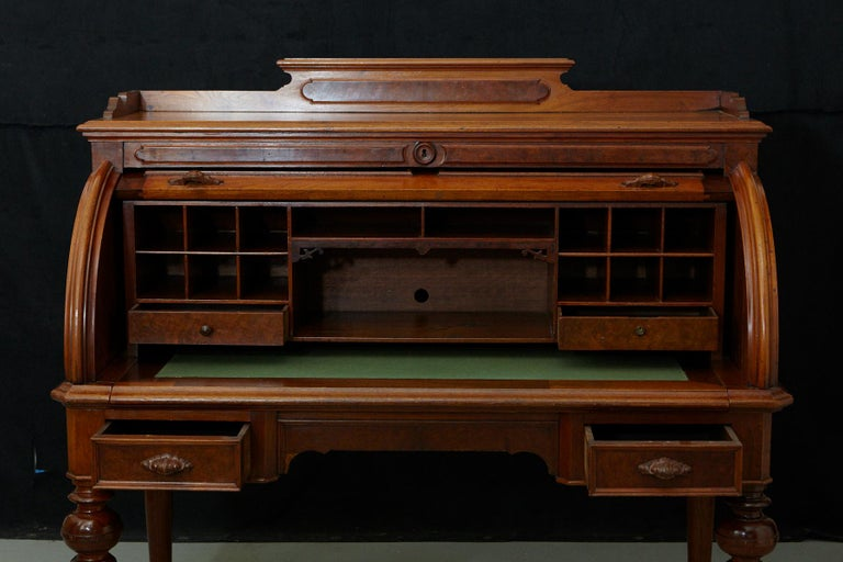 English Walnut Cylinder Desk with Pullout Writing Surface, circa 1870 For Sale 5