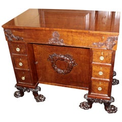 Late 18th Century Mahogany Gentleman's Desk Standing on Carved Feet