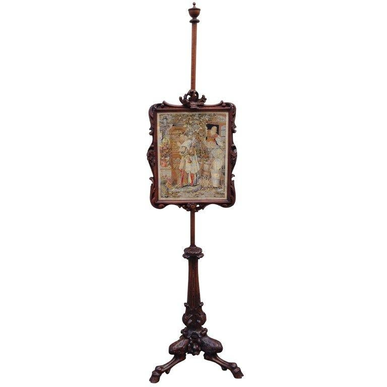 Late 18th C Scottish Regency Fire Screen with Needlepoint For Sale