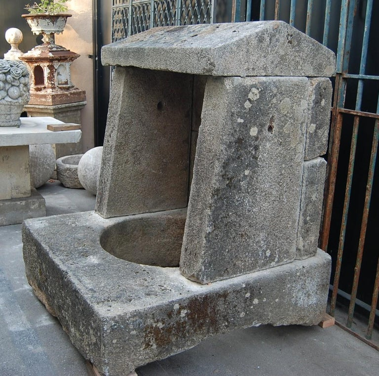 French Wellhead Hand Carved Stone Planter Basin Antiques Fire Pit Niche Antique Melrose For Sale