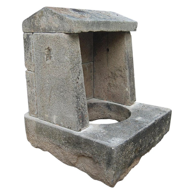 Wellhead Hand Carved Stone Planter Basin Antiques Fire Pit Niche Antique Melrose For Sale