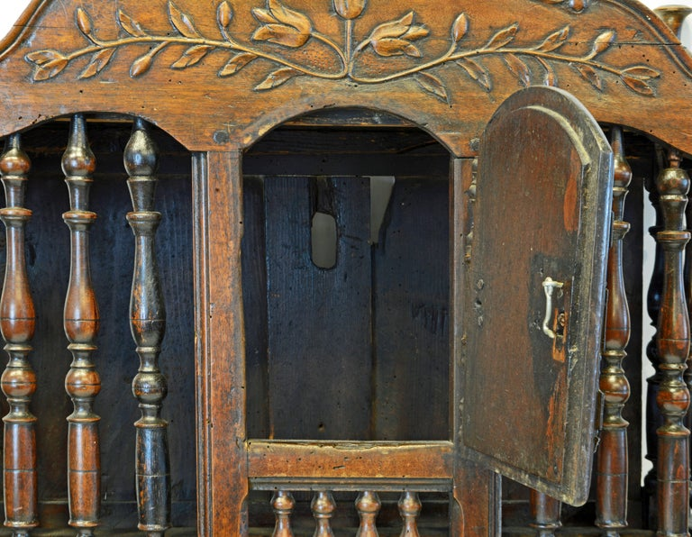 Late 18th Century French Provincial Carved and Turned Walnut Panetiere For Sale 6