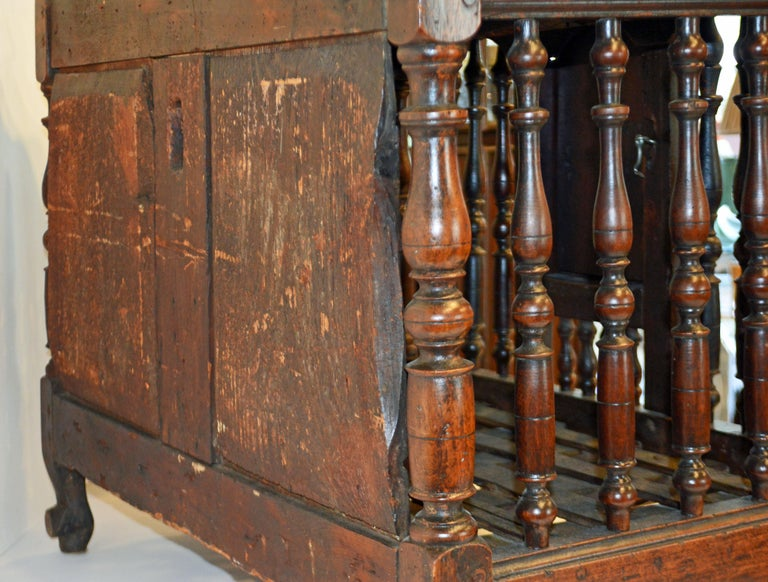 Late 18th Century French Provincial Carved and Turned Walnut Panetiere For Sale 1
