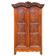Late 18th Century Rennes Armoire, Cherrywood, Brittany, Attributed J.B.Depouez