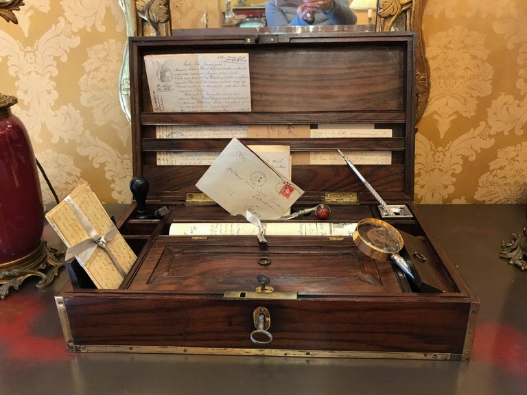 Late 18th Century Amarante Officer's Letter Box, circa 1780 For Sale 3