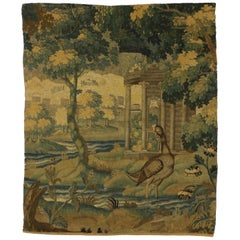 Late 18th Century Antique French Verdure Tapestry Wall Hanging