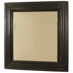 Late 18th Century Big Ebonized Black Baroque Mirror with original Mercury Glass