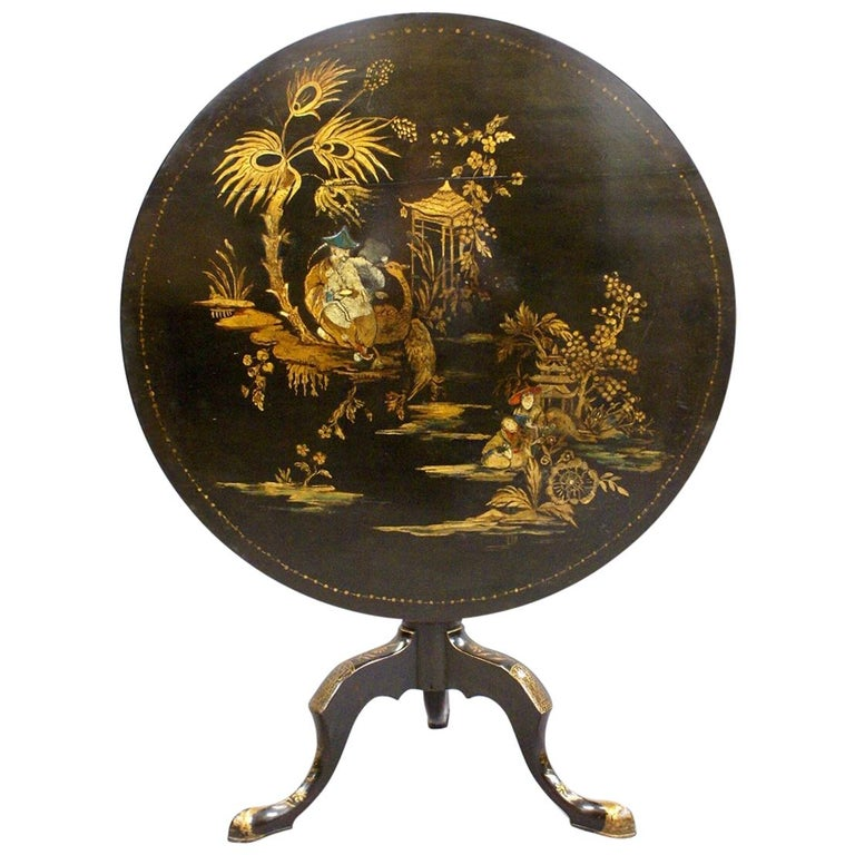 Late 18th Century Black Japanned and Decorated Tripod Table, circa 1785