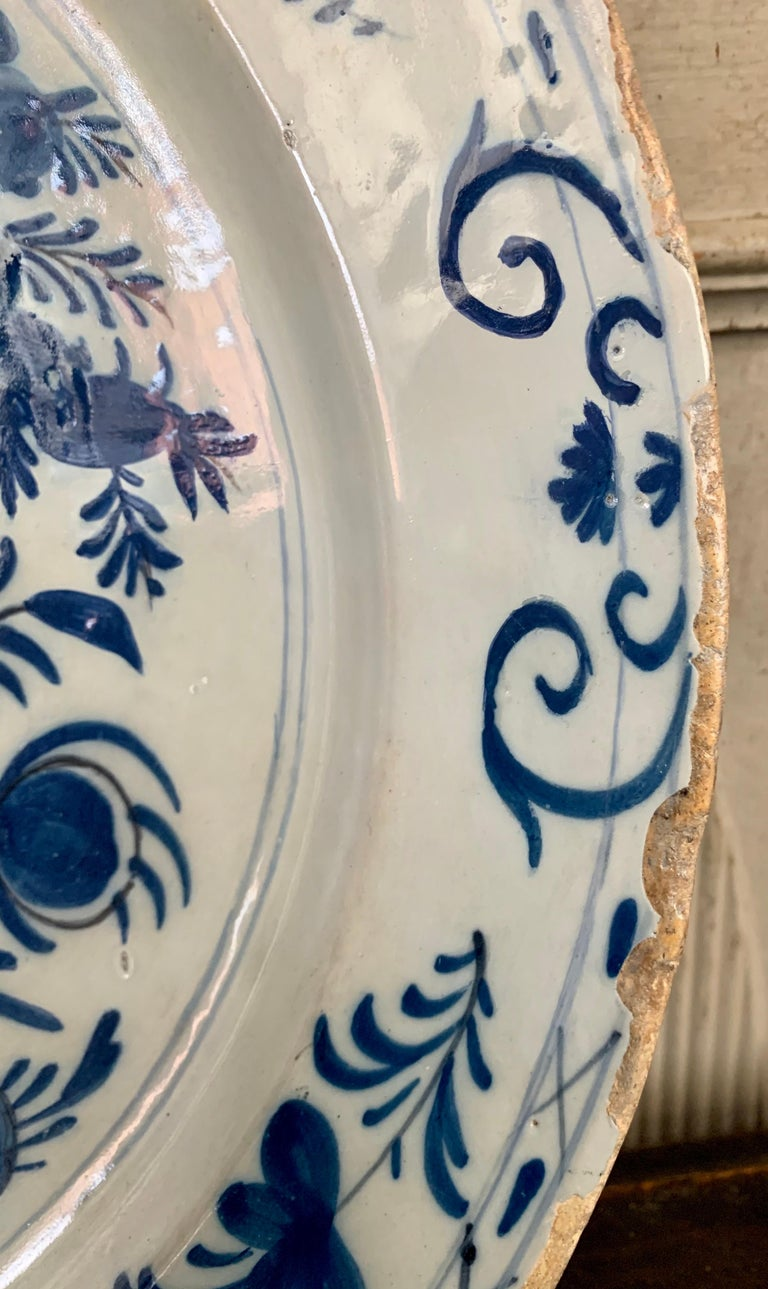 Late 18th Century Blue And White Glazed Faience Charger, circa 1770, Denmark For Sale 5