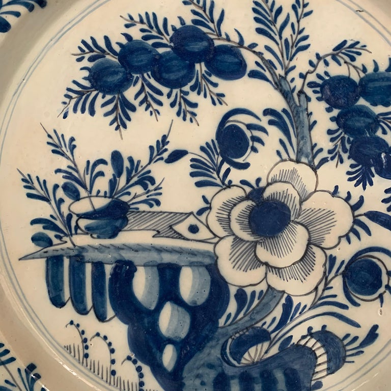 Rococo Late 18th Century Blue And White Glazed Faience Charger, circa 1770, Denmark For Sale