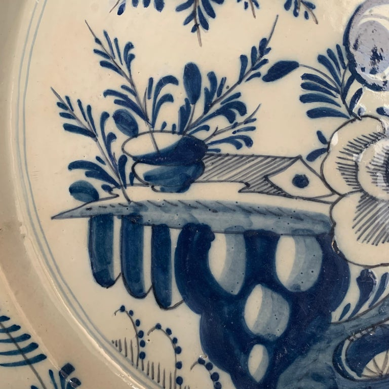 Danish Late 18th Century Blue And White Glazed Faience Charger, circa 1770, Denmark For Sale