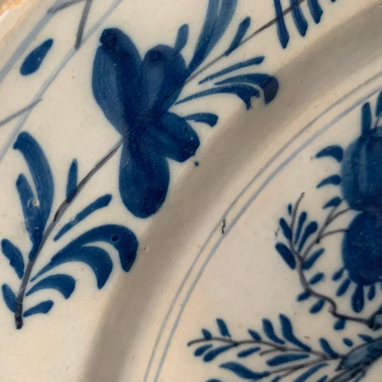 Hand-Crafted Late 18th Century Blue And White Glazed Faience Charger, circa 1770, Denmark For Sale