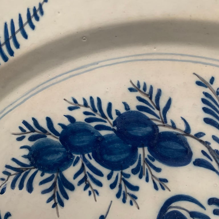 Late 18th Century Blue And White Glazed Faience Charger, circa 1770, Denmark In Good Condition For Sale In Haddonfield, NJ