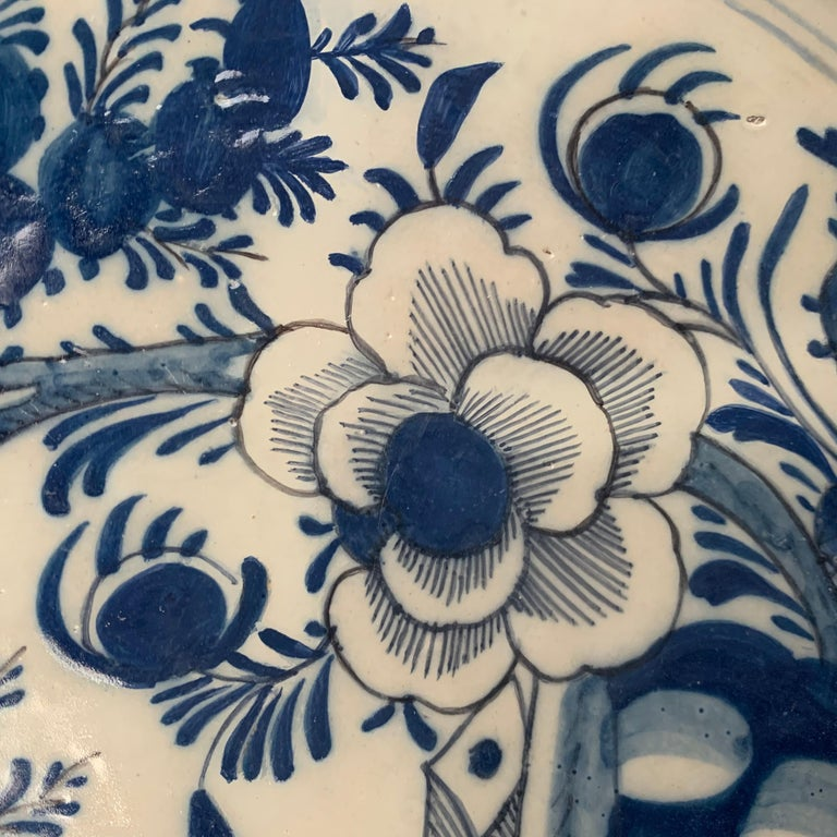 Late 18th Century Blue And White Glazed Faience Charger, circa 1770, Denmark For Sale 1