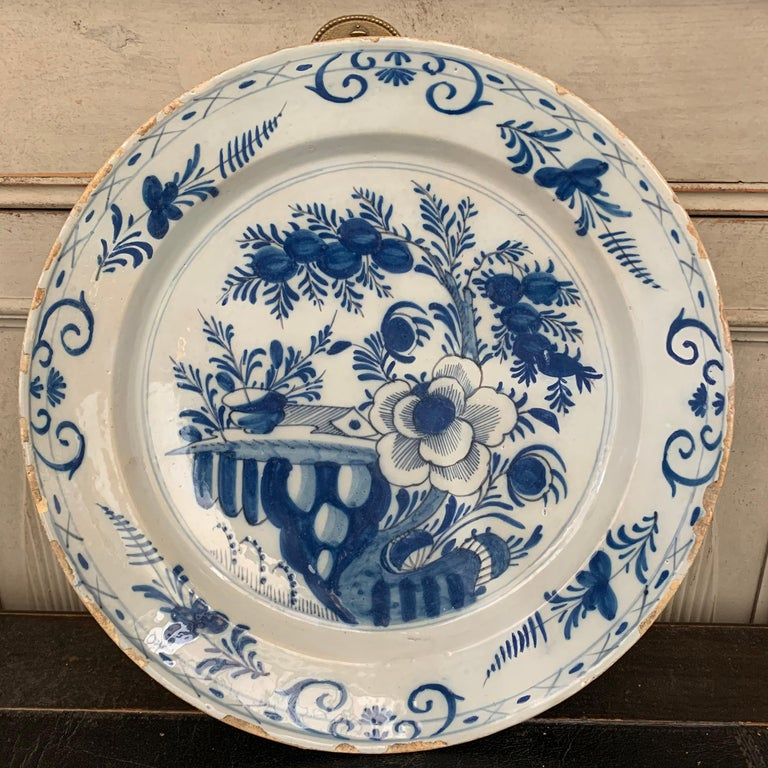 Late 18th Century Blue And White Glazed Faience Charger, circa 1770, Denmark For Sale 3