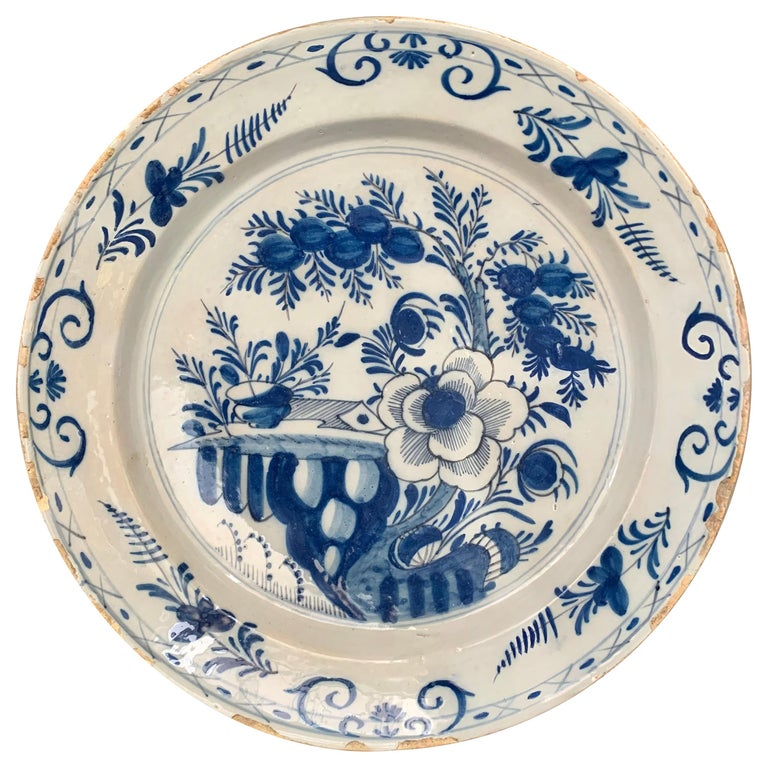 Late 18th Century Blue And White Glazed Faience Charger, circa 1770, Denmark For Sale
