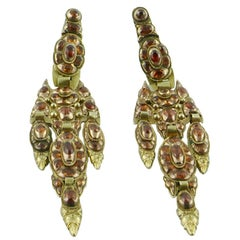 Late 18th Century Catalan Gold and Mandarin Garnet Pendant Earrings