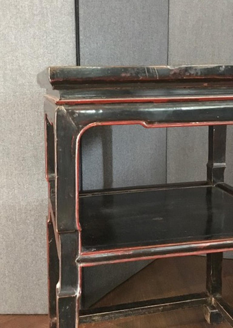 Late 18th Century Chinese  Export  Side Table in Black and Red For Sale 7