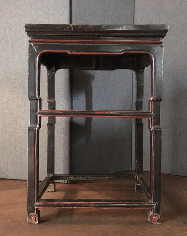 Lacquer Late 18th Century Chinese  Export  Side Table in Black and Red For Sale